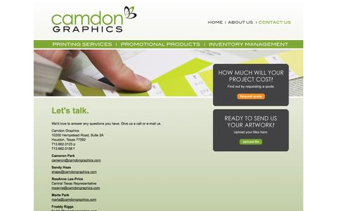Screenshot of Contact Page camdongraphics.com - Full Range Offset and Digital Printing in Houston Texas - Camdon Graphics - captured Oct. 22, 2014