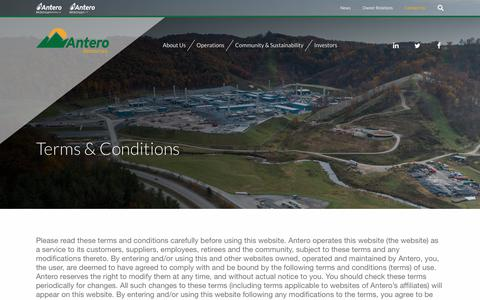 Screenshot of Terms Page anteroresources.com - Terms & Conditions :: Antero Resources Corporation (AR) - captured Jan. 29, 2019