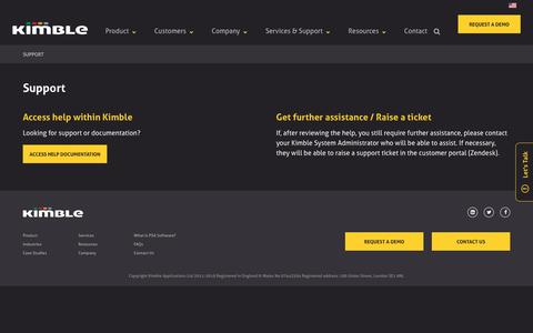 Screenshot of Support Page kimbleapps.com - Support | Kimble Applications - captured June 28, 2019