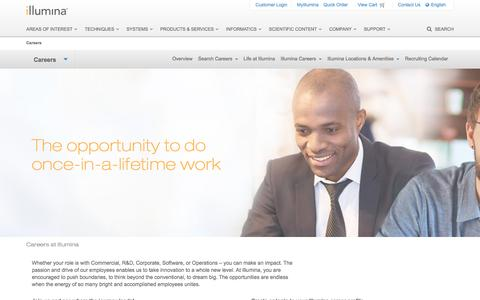 Screenshot of Jobs Page illumina.com - Careers | The opportunity to do once-in-a-lifetime work - captured April 19, 2016