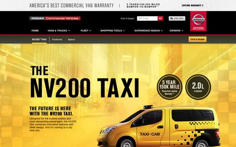 Screenshot of nissancommercialvehicles.com - Nissan NV200 Taxi Cab | Nissan Commercial Vehicles - captured Aug. 30, 2016