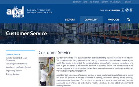 Screenshot of Support Page arpalgulf.com - Customer Service - captured Oct. 10, 2014