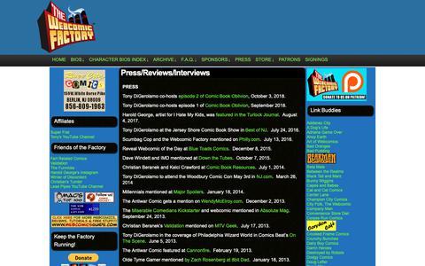 Screenshot of Press Page thewebcomicfactory.com - Press/Reviews/Interviews – The Webcomic Factory - captured Nov. 19, 2018