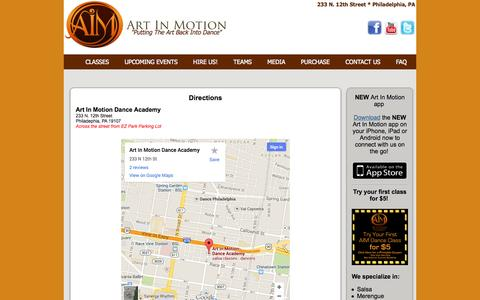 Screenshot of Maps & Directions Page phillyaimdancers.com - Philadelphia Salsa Classes and Performances - captured Oct. 4, 2014