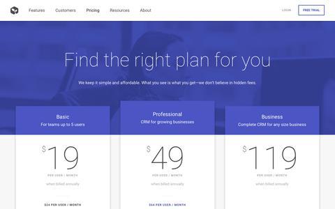 Screenshot of Pricing Page prosperworks.com - Pricing   ProsperWorks, Google's Recommended CRM - captured Dec. 9, 2017