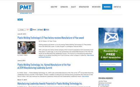 Screenshot of Press Page pmtinc.com - News About Plastic Molding Technology, Inc., and the Plastic Injection Molding Industry - captured Oct. 2, 2014