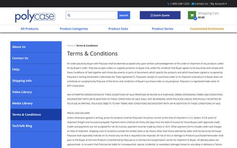 Screenshot of Terms Page polycase.com - Terms & Conditions - captured Sept. 28, 2018