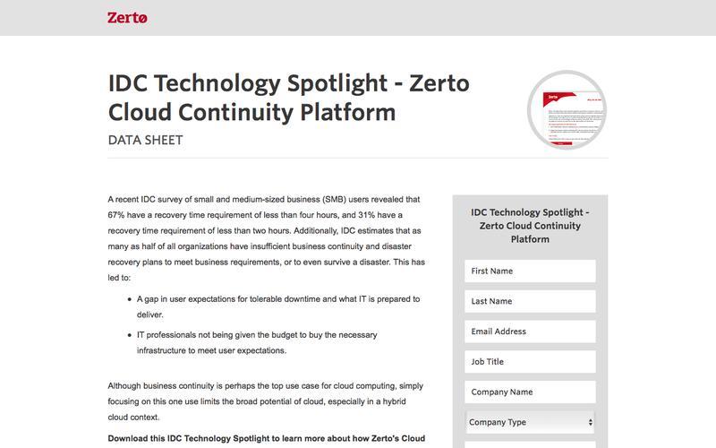 IDC Technology Spotlight -  Zerto Cloud Continuity Platform