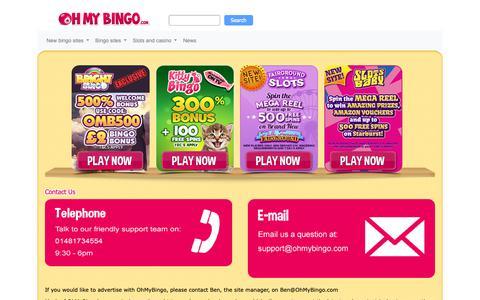 Screenshot of Contact Page ohmybingo.com - Contact Us | Contact the online bingo site OhMyBingo here - captured Jan. 31, 2019