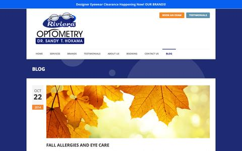 Screenshot of Blog rivieraoptometry.net - BLOG | Optometrists Redondo Beach - captured Oct. 26, 2014