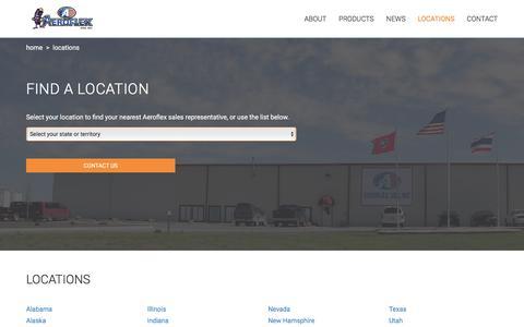 Screenshot of Locations Page aeroflexusa.com - Locations - Aeroflex USA Inc - captured May 29, 2017