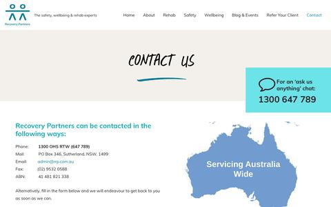 Screenshot of Contact Page rrp.com.au - Contact Recovery Partners | Return to Work | Rehab | EAP | Safety Audit | Wellbeing - captured Jan. 20, 2020