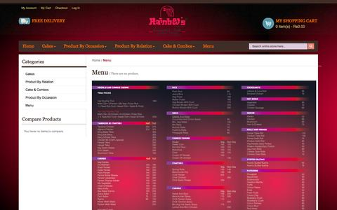 Screenshot of Menu Page rainbowbakers.com - Menu - captured Nov. 2, 2014