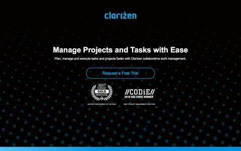 Screenshot of Landing Page clarizen.com - Task Management Software l Clarizen - captured Sept. 18, 2018