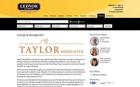 Screenshot of Services Page lednor.co.uk - Lettings & Management - captured Jan. 27, 2016