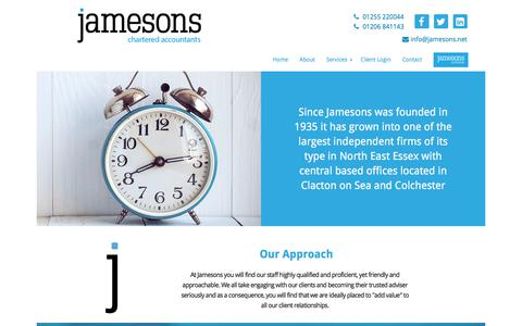 Screenshot of About Page jamesons.net - Jamesons Accountants - captured Sept. 20, 2018