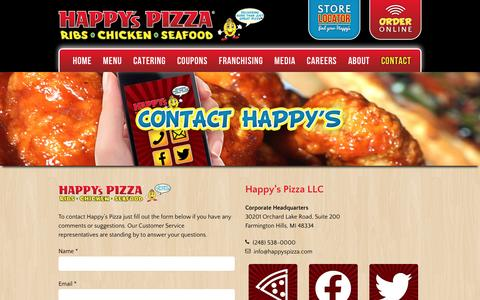 Screenshot of Contact Page happyspizza.com - Happy's Pizza - Contact - captured Dec. 7, 2015