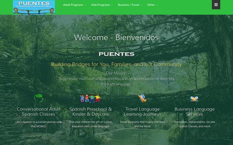 Screenshot of Home Page puentes.biz - Puentes Language Programs- Boise Conversational Spanish Classes - captured June 18, 2015