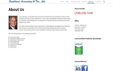 Screenshot of About Page southland-tax.com - About Us | Southland Accounting & Tax - captured Oct. 19, 2018