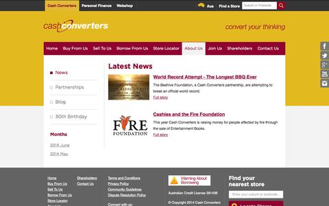 Screenshot of Press Page cashconverters.com.au - Cash Converters News | Latest News & Updates - captured Nov. 4, 2014