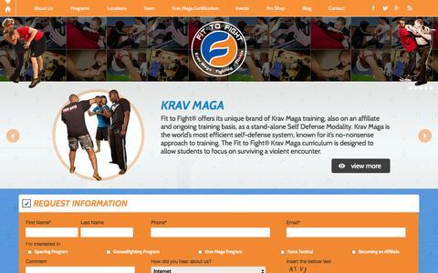 Screenshot of Home Page fit-to-fight.com - Krav Maga Instructors - Krav Maga Training   Fit to Fight - captured Sept. 19, 2014