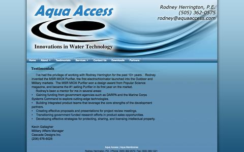 Screenshot of Testimonials Page aquaaccess.com - Aqua Access - Testimonials - captured Sept. 13, 2014