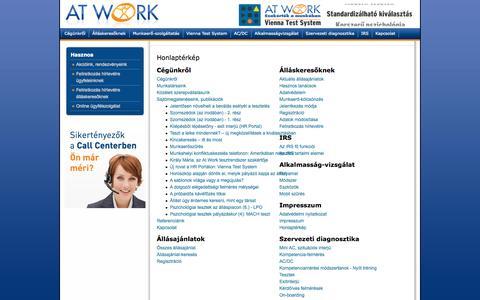 Screenshot of Site Map Page atwork.hu - Honlaptérkép - captured Oct. 4, 2014