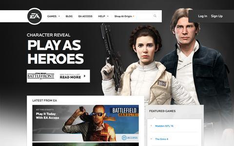 Screenshot of Home Page ea.com - EA Games - Electronic Arts - captured Oct. 23, 2015
