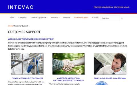 Screenshot of Support Page intevac.com - Customer Support at Intevac Corporation - captured Aug. 6, 2016