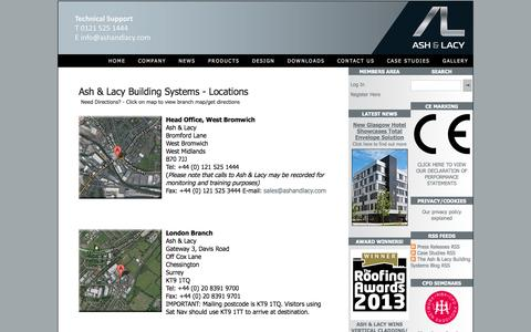Screenshot of Locations Page ashandlacy.com - Locations - Ash & Lacy Building Systems - captured Oct. 4, 2014