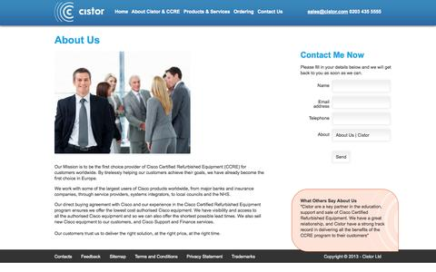 Screenshot of About Page cistor.com - About Us | Cistor - captured Oct. 2, 2014