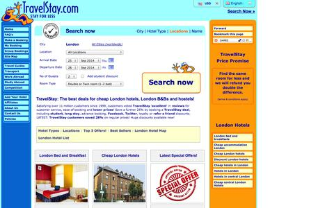 Screenshot of Locations Page travelstay.com - Hotels in London | Cheap London Hotels | London Accommodation - captured Sept. 19, 2014
