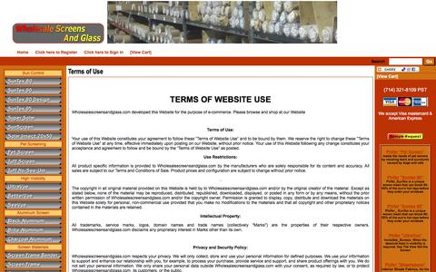 Screenshot of Terms Page wholesalescreensandglass.com - WholesaleScreensandGlass - Terms of Use - captured July 9, 2018