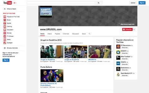 Screenshot of YouTube Page youtube.com - www.URUGOL.com  - YouTube - captured Oct. 23, 2014