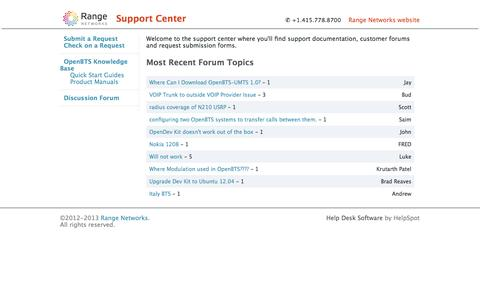 Screenshot of Support Page rangenetworks.com - Range Networks Support Center: Range Networks - captured Sept. 30, 2014