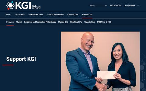 Screenshot of Support Page kgi.edu - Overview - Keck Graduate Institute - captured Oct. 4, 2018