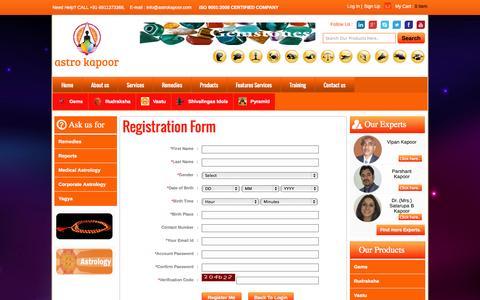 Screenshot of Signup Page astrokapoor.com - Astro Kapoor - captured Nov. 4, 2014