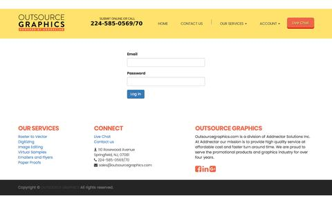Screenshot of Login Page outsourcegraphics.com - Outsource Graphics   Contact Us - captured July 10, 2018