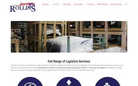 Screenshot of Services Page rollins3pl.com - Full Range of Logistics Services | Rollins 3PL - captured Oct. 7, 2014