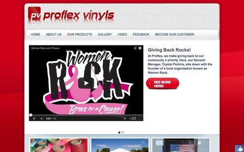 Screenshot of Home Page proflexvinyls.com - Proflex Vinyls :: A Division of Presco - captured Sept. 30, 2014