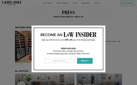 Screenshot of Press Page laurelandwolf.com - Personalized Online Interior Design Services   Laurel & Wolf - captured March 4, 2018