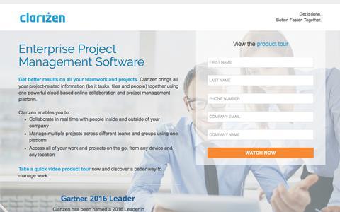 Screenshot of Landing Page clarizen.com - Enterprise Project Management Software l Clarizen - captured Sept. 19, 2018