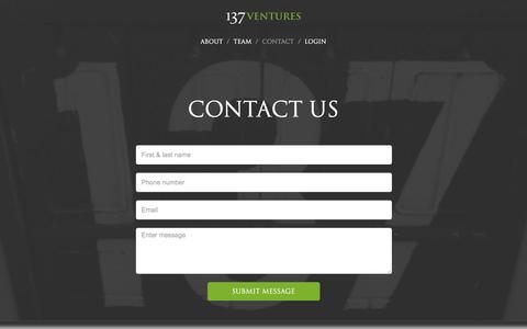 Screenshot of Contact Page 137ventures.com - Contact Us - 137 Ventures - captured Feb. 20, 2016