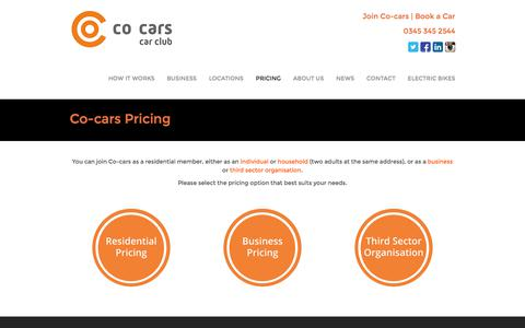 Screenshot of Pricing Page co-cars.co.uk - Co-cars Pricing - Co-carsCo-cars - captured Sept. 20, 2017