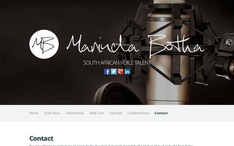 Screenshot of Contact Page marindabotha.co.uk - Contact - Marinda Botha | Marinda Botha - captured Nov. 5, 2014