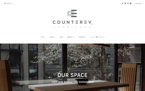 Screenshot of Home Page counterev.com - CounterEv | Modern Rustic Sustainable Reclaimed Wood Furniture in NYC – CounterEv Furniture - captured Sept. 29, 2018