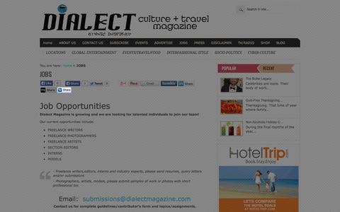 Screenshot of Jobs Page dialectmagazine.com - Dialect Magazine   JOBS - Dialect Magazine - captured Sept. 30, 2014