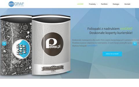 Screenshot of Home Page emgraf.pl - Reklamówki i torby foliowe z nadrukiem | Foliopaki - emGRAF - captured Dec. 14, 2015