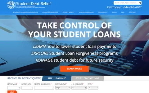 Screenshot of Home Page studentdebtrelief.us - Student Debt Relief   Student Loan Forgiveness - captured July 3, 2017