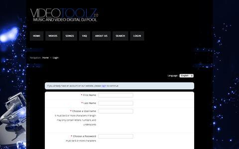 Screenshot of Signup Page videotoolz20.com - DJ Pool, Music Pool, Video Pool Sign Up - captured Nov. 1, 2014